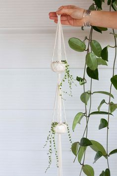 Mini Double Macrame Plant Hanger Ceramic Pot Set by KnottyBloom