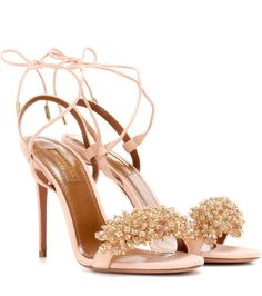 Aquazzura - Monaco 105 embellished suede sandals - Achieving evening opulence is as simple as slipping into the Monaco 105 sandals from Aquazzura. The pink suede pair feature faceted beads adding playful movement and irresistible sparkle to the toe strap. The label's signature slender ankle ties complete the striking look. seen @ www.mytheresa.com...