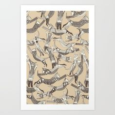Cat Party Beige Natural art print by Sharon Turner, $19. https://society6.com/product/cat-party-beige-natural_print?curator=bestreeartdesigns