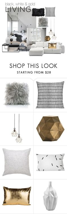 """""""BLACK, WHITE & GOLD"""" by mimiih ❤ liked on Polyvore featuring interior, interiors, interior design, home, home decor, interior decorating, Arteriors, Cyan Design, Jamie Young and bedroom"""