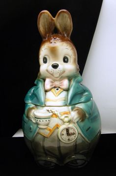 Vintage Rabbit Wonderland Cookie Jar