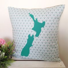 Cushion Cover - Posies | Green Teal Map