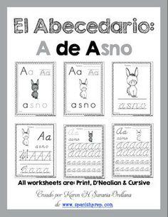 Spanish Alphabet Handwriting Practice & Posters:
