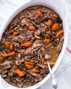 Uber tender Beef and Mushroom Pot Roast (the easy crock pot version!)   NatashasKitchen.com
