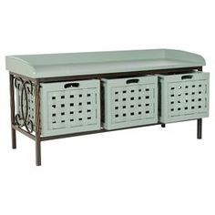 "Perfect for stowing shoes and hats in the mudroom or books and throws in the den, this essential wood storage bench showcases 3 basketweave bins and latticework sides.    Product: Storage benchConstruction Material: Pine wood, iron and engineered woodColor: Medium greyFeatures:  Three removable baskets includedBasket-weave designTray-inspired seat Dimensions: 19"" H x 42.5"" W x 15.5"" D"