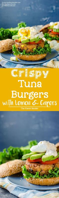 Crispy Tuna Burger with Lemon and Capers - A delicious burger topped with a spiced aioli tartar sauce, tomatoes, avocado and an egg. Transform your canned tuna into a scrumptious brunch burger or spectacular dinner with just a few easy steps. via @theflavorbender