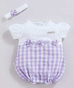 This White & Lilac Plaid Bodysuit & Headband - Infant is perfect! #zulilyfinds