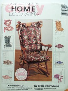 Mccall's 764 Easy Sewing Pattern, Chair Cushion, Chair Pad, Home Cottage Chic…