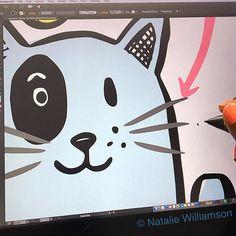 Cutey currently staring back at me  #workinorogress #wip #cintiq #adobeillustrator #inking #characterdesign #kidsillustration #whatsnewpussycat