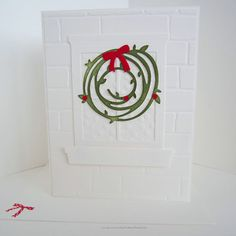 Adorable window & wreath die cut holiday card on a white card base, layered… Holiday Cards, Christmas Cards, Merry Christmas, Holly Wreath, Brick Patterns, Red Berries, White Envelopes, Card Sizes, Hand Stamped