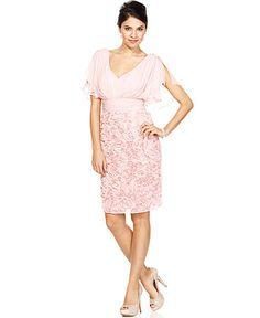 $189 JS Collections Dress, Short Split Sleeve Pleated Ribbon Applique