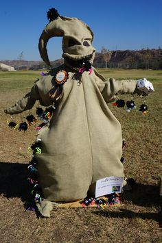 Homemade Jack & Sally #scarecrows at the entrance to the farm ...