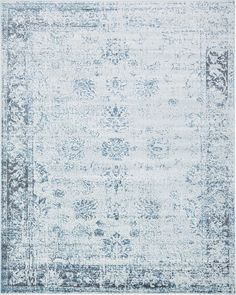 """This Turkish Monaco rug is made of Polypropylene. This rug is easy-to-clean, stain resistant, and does not shed.  Colors found in this rug include: Light Blue, Blue, Gray, Ivory. The primary color is Light Blue.  This rug is 1/3"""" thick."""