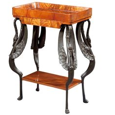A Small Mahogany Vide Poche with Swan Legs | From a unique collection of antique and modern side tables at http://www.1stdibs.com/furniture/tables/side-tables/