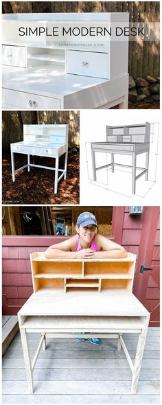A DIY tutorial to build a simple modern desk. Make this user friendly ample desk with modern legs and hutch organizer using my plans. #diy Woodworking Projects Diy, Woodworking Plans, Modern Desk, Diy Tutorial, How To Plan, How To Make, Backyard, Simple, Building