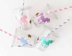 Unicorn Party Cups - Unicorn Birthday - First Birthday - Unicorn Theme - Mythical - Princess Party - Fairy Tale - Magical Birthday - Parties by SteshaParty on Etsy https://www.etsy.com/listing/529185295/unicorn-party-cups-unicorn-birthday