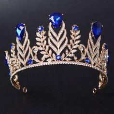 7.5Cm High Adult Big Drip Crystal Leaf Tiara Crown Wedding Pageant Prom 4  Colour Princess d137bf4bd6e6
