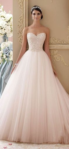 David Tutera blush pink ball gown long wedding dresses