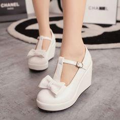 Womens T Strap Bar Mary Janes Bowknot Lolita Candy Platform Wedge Wedding Shoes #Fashion #Strappy