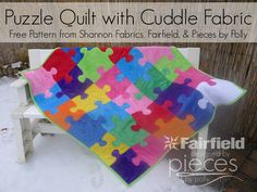 Puzzle Quilt with Cuddle Fabric - Free Quilt Pattern - Pieces by Polly. The knobs are appliqued on, so the quilt is actually really easy to make. Quilt Patterns Free, Applique Patterns, Pattern Blocks, Block Patterns, Pattern Ideas, Free Pattern, Sewing Patterns, Puzzles, Puzzle Quilt