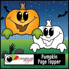 Page Topper Pumpkin contains a Halloween themed pumpkin clip art image in color and the same in black and white.  Create fun Halloween worksheets, crafts, posters etc.  These images are approx. 6 inches across so will fit on a letter size page perfectly.