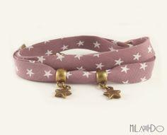 Bracelet biais figue à étoiles blanches