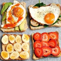 four breakfast toasts - 1. avocado, fried egg and hot sauce, 2. spinach, mushrooms and fried egg, 3. peanut butter and banana slices, 4. nutella/chocolate and strawberries.