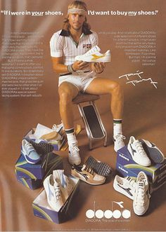 Bjorn Borg in the 80's wearing a variety of Diadora's collection. He is holding the Kangaroo skin white and gold Elites. A very rare shoe that is sold in select stores.