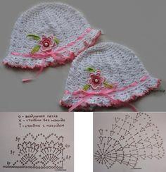 Шапочка - Her Crochet - Diy Crafts Crochet Beret Pattern, Crochet Baby Hat Patterns, Crochet Cap, Booties Crochet, Baby Girl Crochet, Crochet Baby Hats, Crochet Beanie, Diy Crafts Knitting, Diy Crafts Crochet
