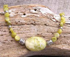 Green Gemstone Necklace Green Necklace by CathysCraftyDesigns