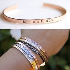 Thin Cuff Bracelet. Be here now. Yoga Jewelry. Dainty. Sterling Silver