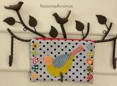Birdie Zippy Purse Cauliflower Tots, Bird Crafts, Fabric Birds, Irene, Pouches, Sunglasses Case, My Design, Purse, Cosmetics