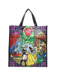 Loungefly Disney Beauty And The Beast Stained Glass Reusable Tote,