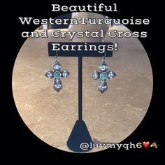 """WP CRYSTAL CROSS DROP EARRINGS Western Products Turquoise  Crystal Cross Drop Earrings. Silver Cross embellished with Crystals and Turquoise Inlay. French wire. Measures 1"""" wide by 1 1/2 inch long. They are lead compliant. Western Products Jewelry Earrings"""