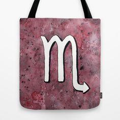 """Zodiac sign : Scorpio"" Tote Bag by Savousepate on Society6 #totebag #bag #scorpio #zodiacsign #astrologicalsign #astrology #purple #black #white"