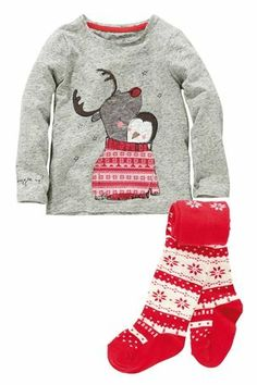 Buy Grey Penguin And Rudolph Top With Tights (3mths-6yrs) from the Next UK online shop