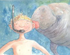 manatee sea cow Original watercolor boy child snorkeling 9 x 12  bowman kid Getting Friendly seacow