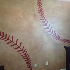 Baseball wall in my nephews room!