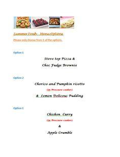 My new summer menu starts 6th January 2014