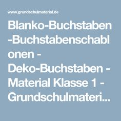 Blanko-Buchstaben-Buchstabenschablonen - Deko-Buchstaben - Material Klasse 1 - Grundschulmaterial.de