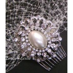 Hazel: Antique Style Oval Pearl and Rhinestones Brooch & IVORY Birdcage Veil 23-30683BE-S-IV