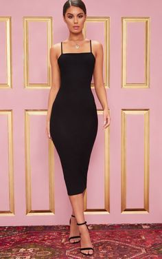 The Black Strappy Midi Dress. Head online and shop this season's range of dr… The Black Strappy Midi Dress. Head online and shop this season's range of dresses at PrettyLittleThing. Express delivery available. Black Dress Outfits, Sexy Dresses, Cute Dresses, Beautiful Dresses, Fashion Dresses, Prom Dresses, Dress Black, Black Strappy Dress, Midi Dresses