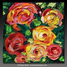 B. Sasik Original Oil Painting Garden ART ROSES by bsasik on Etsy