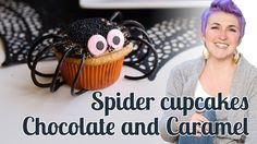 a full video tutorial for How to make chocolate caramel Spider Cupcakes - Halloween Baking Championship