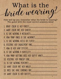 What is the Bride Wearing Bridal Shower Game . What is the Bride Wearing . Bridal Shower Games, These rustic What is the Bride Wearing Bridal Shower Game cards are a fun bridal shower game to add to your next bridal shower or wedding shower. Fun Bridal Shower Games, Unique Bridal Shower, Bridal Shower Decorations, Bridal Shower Invitations, Bridal Showers, Bridal Party Games, Wedding Shower Activities, Wedding Decorations, Wedding Games