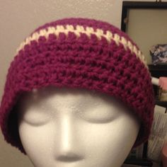 Purple And White Handmade Beanie