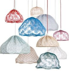 lace lamps by Kicki Möller. Though I like this idea, I think I would be very picky about which lamp. Muuto Lighting, Pendant Lighting, Pendant Lamps, Lighting Ideas, Lamp Light, Light Up, Lace Lamp, Granny Chic, Granny Style