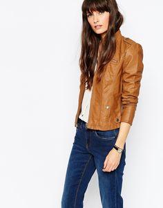 Vero Moda Collarless Leather Look Jacket
