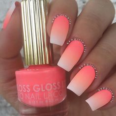 "Matte Neon Gradient featuring @flossgloss ""Int'l Hot Girl"" and ""Pony"" (peach shades)"