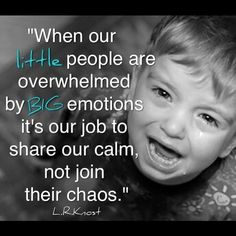 """""""When our little people are overwhelmed by BIG emotions, it's our job to share our calm, not join in their chaos."""" ~ L.R. Knost"""